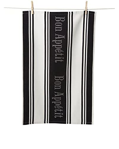 KAF Home Set of 2 Bon Appetit Jacquard Kitchen Towels, Black