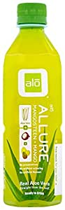 ALO Allure Aloe Vera Beverage, Mangosteen & Mango, 16.9 Ounce (Pack of 12)