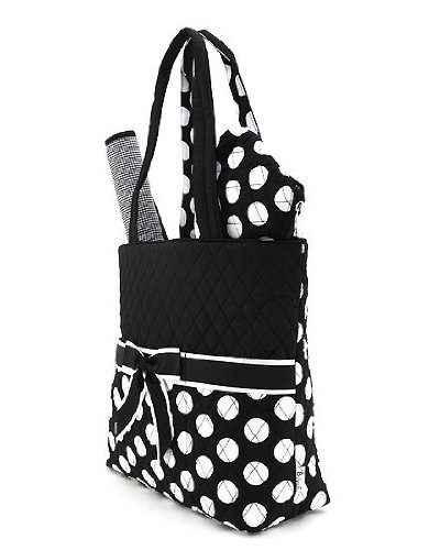 Belvah Large Quilted Polka Dot 3pc Diaper Bag (Black/ White)