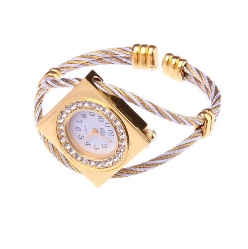Bestdealusa Stylish Steel Wire Rhombus Rhinestone Girl Lady Women Wrist Bracelet Watch