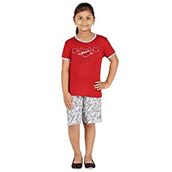 FICTIF Kid Girl's Red and White Color Top & Shorts Set