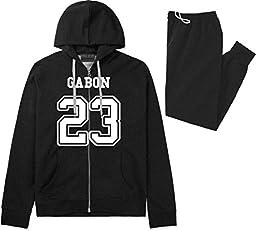 Country Of Gabon 23 Team Sport Jersey Sweat Suit Sweatpants Large Black