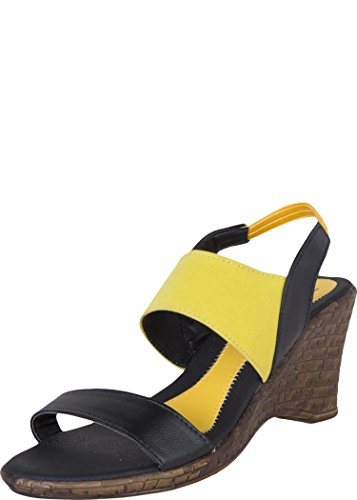 Zovi Zovi Women's Synthetic Black Wedges With Yellow Velvet Straps