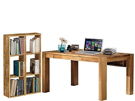 Schreibtisch-Set Burotisch Computertisch GIORGIA 170x75cm 2 Regale Eiche massiv geölt