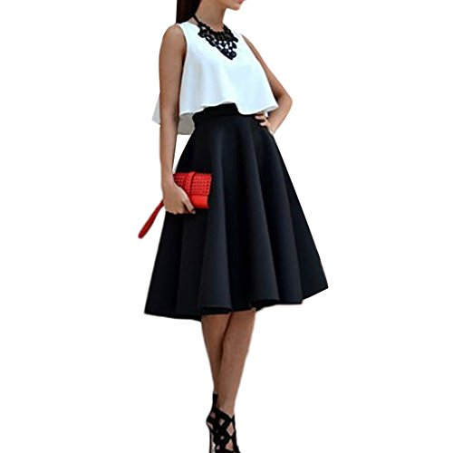 WANGSCANIS Elegant Ladies 2 Piece Set White Top and Bubble Midi Skirt