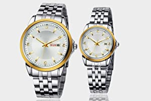 Orient Idea Ori-0098E White Dial & Golden Bezel Quartz Wrist Watches for Lovers