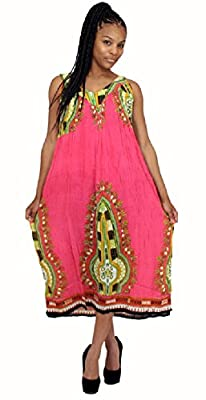 Long Traditional African Print Cotton Blend Sundress Sun Dress - In Many Colors
