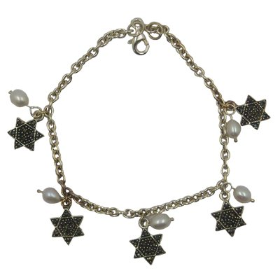Jewish Jewelry, Woman Bracelet, Silver Colored. Pearl and Star of David Design. 7.5