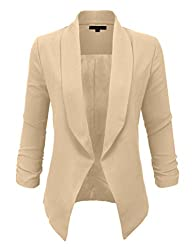 LE3NO Womens Textured 3/4 Sleeve Open…