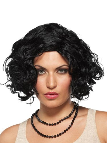 Short Black Wig Curly Wavy Costume Wig