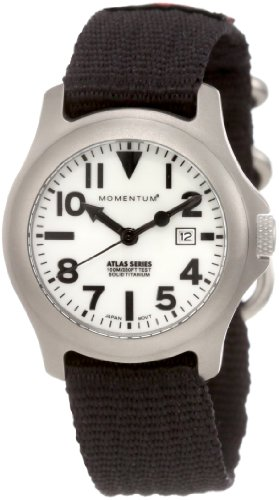 Momentum Atlas TI - Reloj analógico de mujer de cuarzo con correa textil negra - sumergible a 100 metros