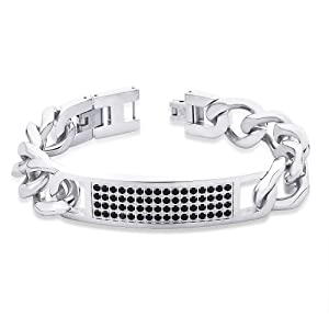 Peora Valentine 316L Stainless Steel 64 Black Cubic Zircon Link Men ID Bracelet w/ Fold Over Clasp (PSB676) available at Amazon for Rs.2600
