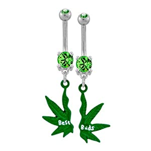 """316L Surgical Steel Prong Set Belly Ring with Mini Best Buds Pot Leaf Broken in Two - 14g (1.6mm), 3/8"""" Length - Sold as a Set"""