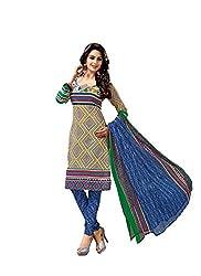 MD Textiles Women Cotton Dress material (KitKet_2009_Blue_Blue_Free Size)