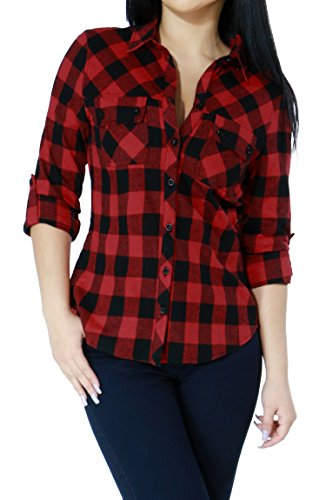 Womens Casual Plaid Checkered Collared Pull Over Button Down Shirts Top (Small, Red-L21983T)