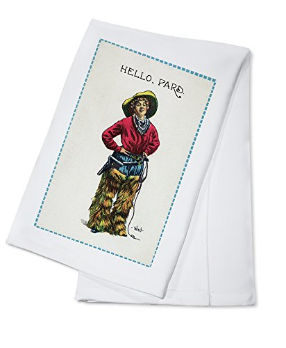 Comic Cartoon - Cowgirl Saying Hello, Pard (100% Cotton Absorbent Kitchen Towel) (Cartoon Cowgirl)