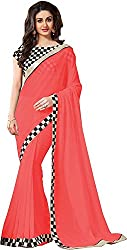 Fableela Women's Chiffon Saree with Blouse Piece (Pink )