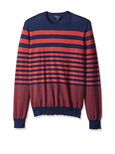 Thirty Five Kent Men's Brushed Cotton Long Sleeve Stripe Crew Neck Sweater