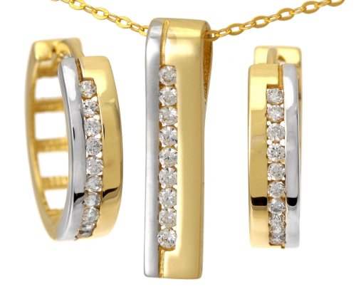 9ct Yellow and White Gold Cubic Zirconia Channel Pendant and Earrings Set