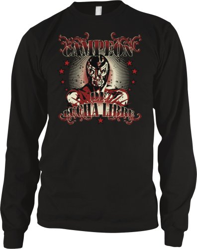 Campeon De Lucha Libre Mens Tattoo Style Thermal Shirt, Old School Mexican Wrestling Design Long Sleeve Thermal, X-Large, Black