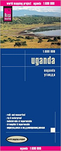 Uganda, mapa de carreteras impermeable. Escala 1:600.000. Reise Know-How.