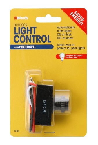 Woods 59408 Outdoor Hardwire Light Control With Photocell Light Sensor Switch