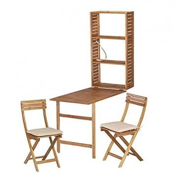 5tlg. Balkonmöbel Set SERENA Akazie Sitzgruppe Terrasse Garnitur Holz klappbar Gartenmöbel