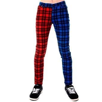 Jist - Jean Homme Drainpipe Imprimé Carreaux Rouge & Bleu - Carreaux Écossais Rouge et Bleu, 36W x Regular