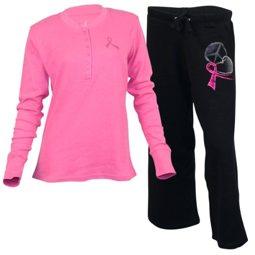 Women''s Pro Cure Breast Cancer Awareness Top and Pant Set - Black - Medium