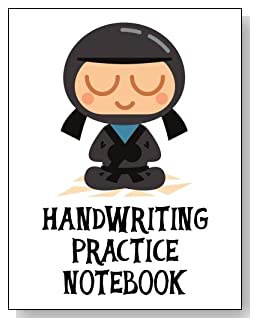 Handwriting Practice Notebook For Boys - Cute little gray ninja makes a fun cover for this handwriting practice notebook for younger boys.