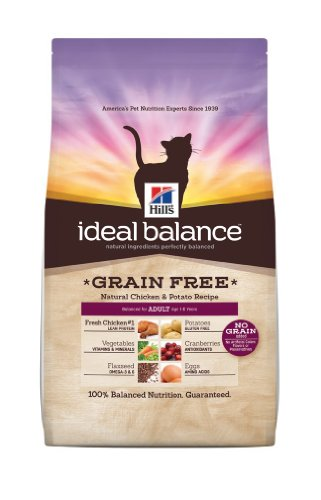 Hills Ideal Balance Grain Free Natural Chicken and Potato Recipe Adult Cats Dry Food Bag, 11-Pound