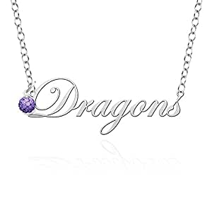 Amazon.com: Drexel Dragons Script Necklace with Color Crystal Accent