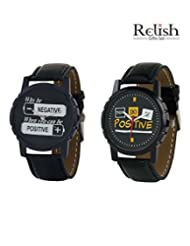 Relish Black Analog Round Casual Wear Watches For Men - B016A6YTP4