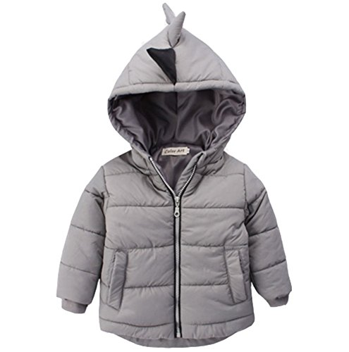 Kids Boys Winter Snowsuit Outerwear Dinosaur Hooded Puffer Down Jacket Coat 2-3T
