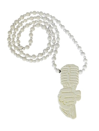White Microphone Champion Plastic Necklace Hip Hop Pendant
