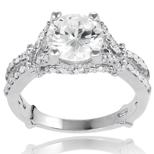 Alexandria Collection Sterling Silver Cubic Zirconia Round Bridal and Engagement Ring