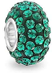Simulated Emerald Crystal May Birthstone With 925 Sterling Silver Core Bead Fits Pandora Charm Bracelet