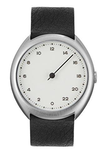 slow O 04 - Schweizer Unisex Einzeigerarmbanduhr analoge 24 Stunden Anzeige silber mit schwarzem Lederband