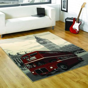 Retro Funky Big Smoke Red London Bus Rugs 120 x 160cm Bedroom Lounge Modern Rugs by Rugs With Flair