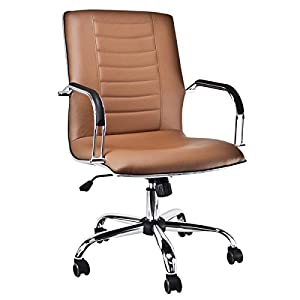 Executive PU Leather Ergonomic Office Desk Computer Chair Mid Back