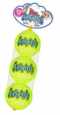 KONG Air Dog Squeakair Tennis Balls Dog Toy, Medium, Yellow, 3/pack by Kong