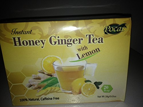 Pocas Instant Honey Ginger Tea With Lemon Caffiene Free 20Bags (3Packs)