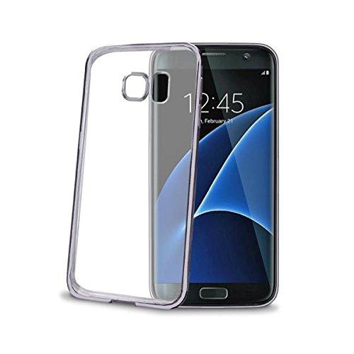 CELLY Custodia Cover in Silicone LASER per Samsung GALAXY S7 EDGE Hi-Tech Bordo Metallizzato Colore DARK SILVER