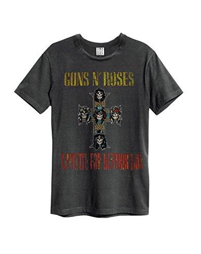 Amplified ufficiale GUNS N ROSES-Appetite for Destruction-Maglietta da uomo, colore: carbone Charcoal M