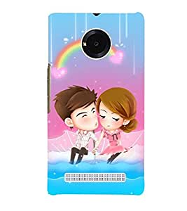 Printvisa Animated Romantic Couple With A Rainbow Background Back Case Cover for YU Yuphoria::Micromax Yuphoria YU5010