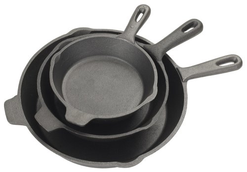 Bayou Classic 7403, 3-Piece Cast Iron Skillet Set, 6