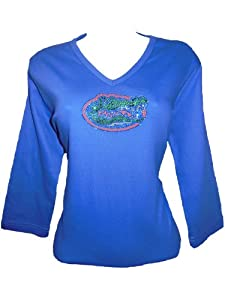 NCAA Florida Gators Ladies Plus V-Neck 3 4 Sleeve Knit Pullover T-Shirt, Royal,... by Collegiate Fashionista