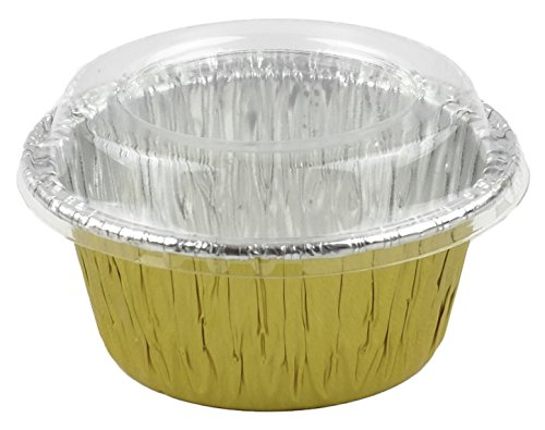 Aliminum Foil 3 1/2 (Gold) Ramekin Utility Cup 4 oz. for Cupcake & Muffin With Lid 20 Sets