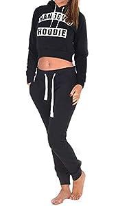 (womens yasmin black hangover cropped hooded top)(MTC) femmes gueule de bois capuche haut (40/42 (uk 12/14), (black) noir)