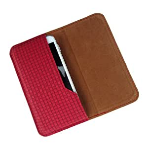 i-KitPit : PU Leather Flip Pouch Case Cover For Micromax Canvas 2.2 A114 (RED)